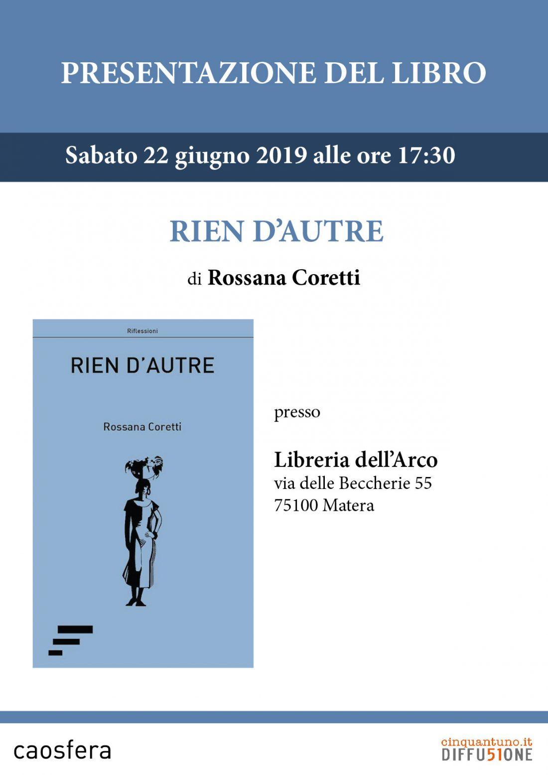 """Presentazione: """"Rien d'autre"""" di Rossana Coretti"""