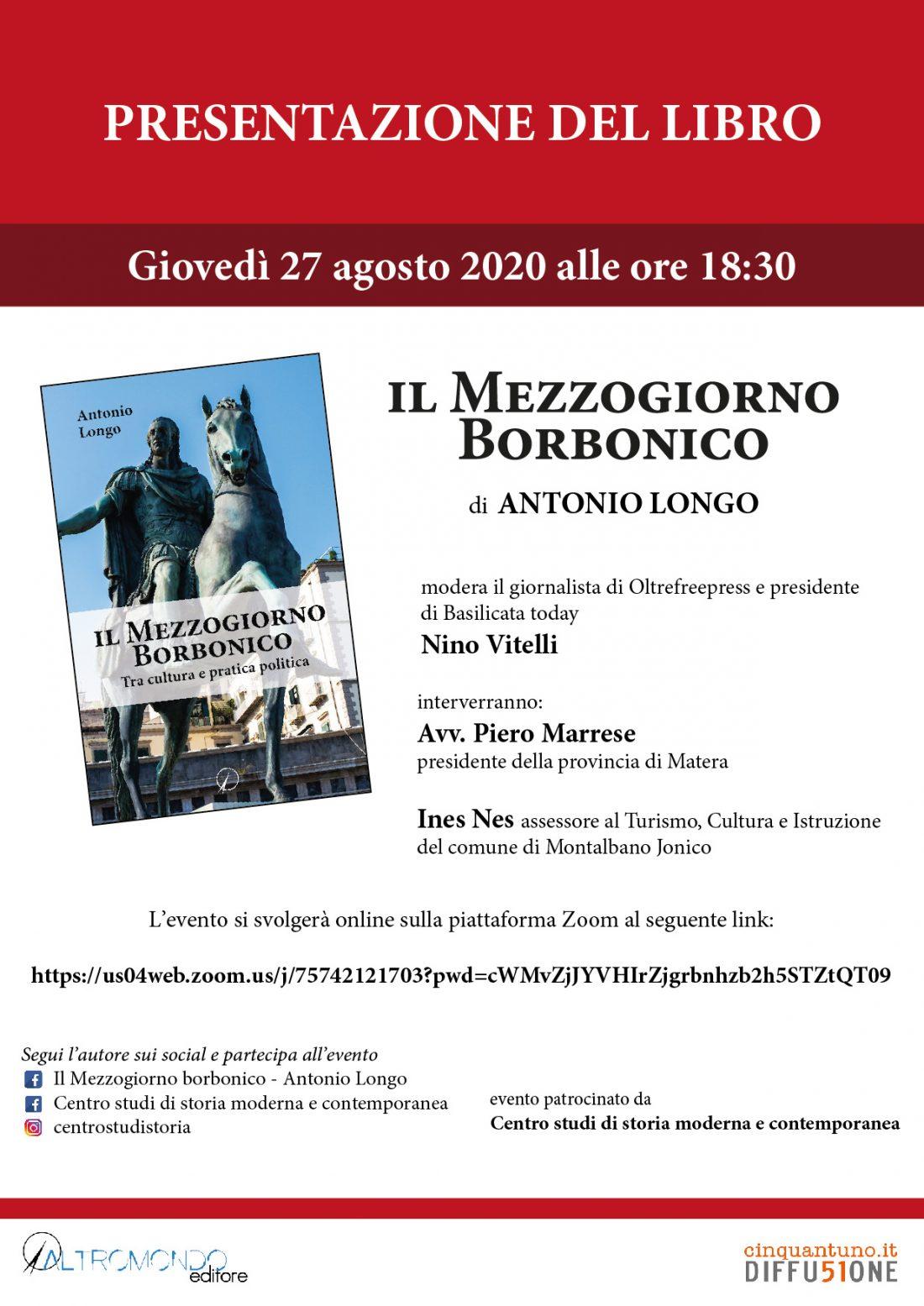 """Presentazione online del libro """"Il Mezzogiorno borbonico"""" di Antonio Longo"""