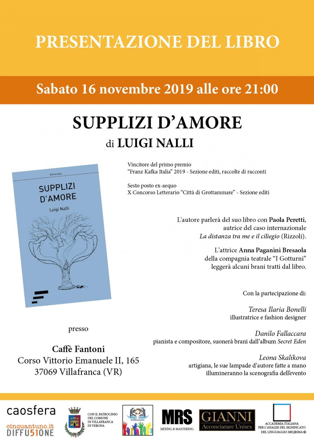 """Presentazione """"Supplizi d'amore"""" di Luigi Nalli"""