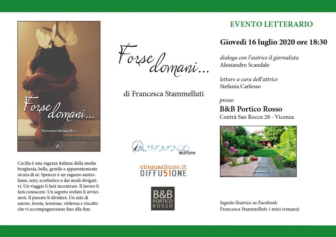 """Evento letterario: Francesca Stammelluti presenta """"Forse domani…"""""""