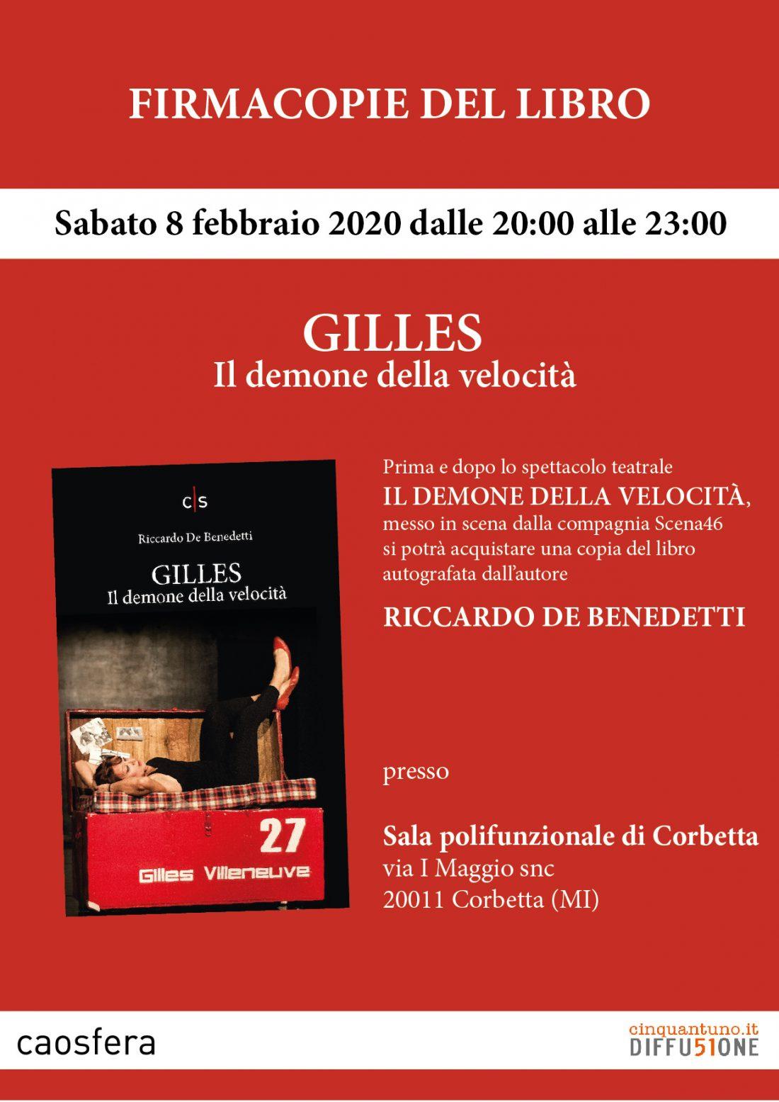 """Firmacopie del libro """"Gilles. Il demone della velocità"""" di Riccardo De Benedetti"""