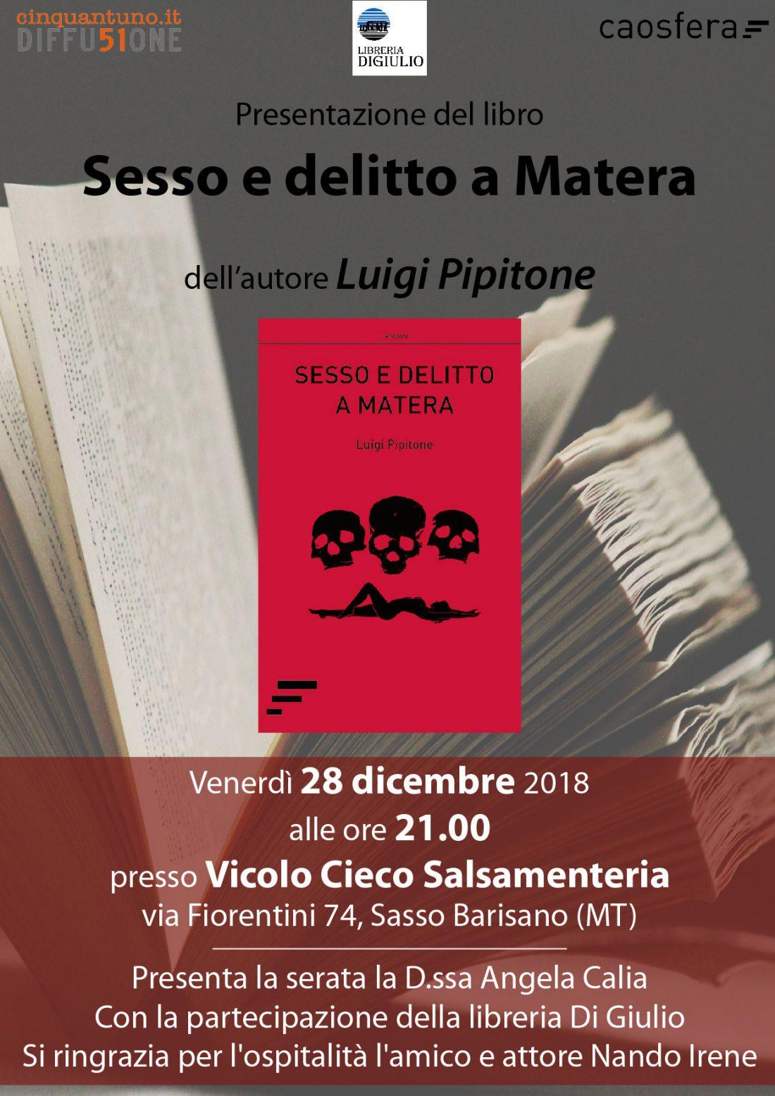 """Presentazione del romanzo """"Sesso e delitto a Matera"""""""