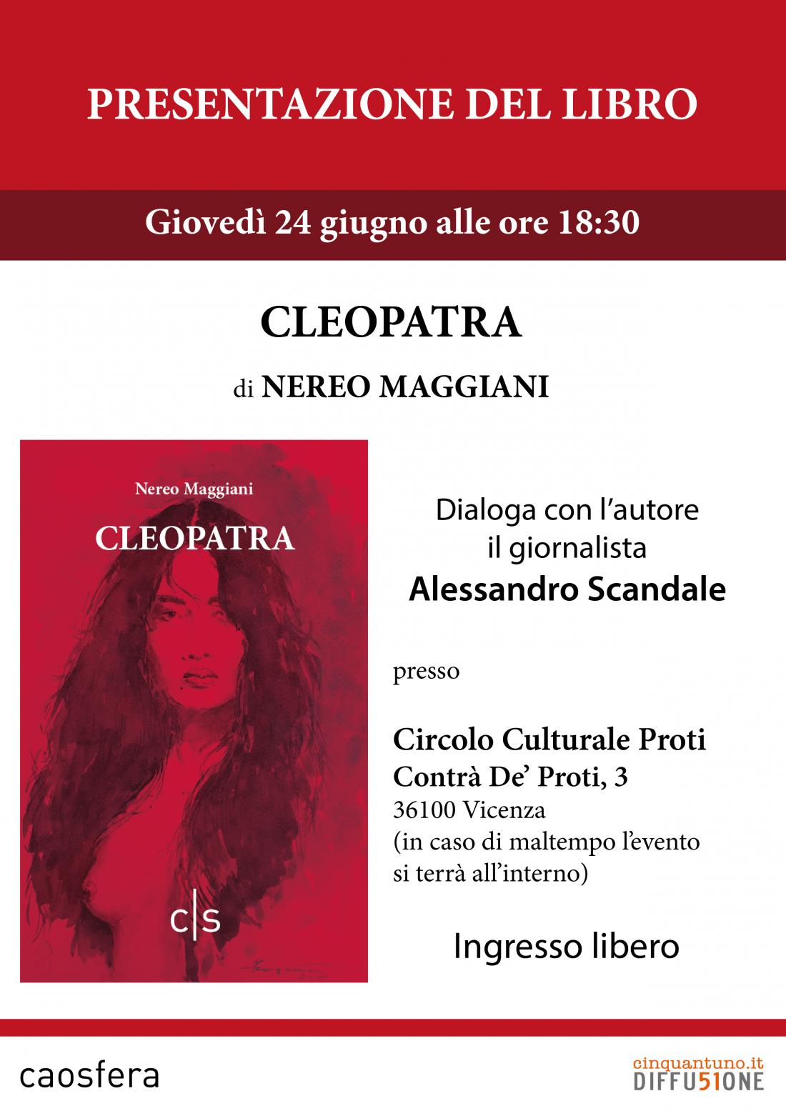 """Presentazione del romanzo """"Cleopatra"""" di Nereo Maggiani"""