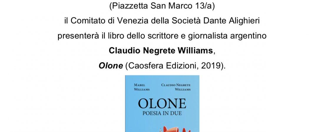 """Presentazione: """"Olone"""" di Claudio Negrete Williams"""